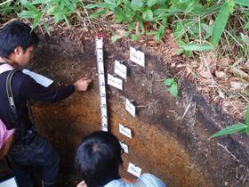 根釧地方内陸部火山灰地域の土壌を観察