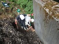 裏込め材流出防止用の木組み