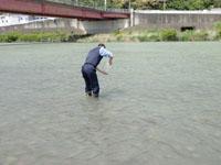 川の水を採取